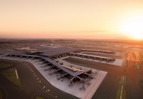 Aerial shot of Istanbul airport at dawn